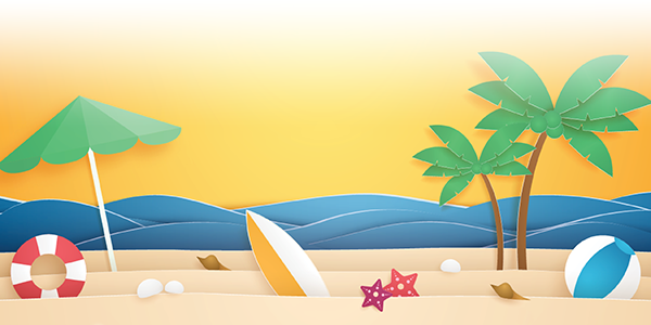 beach scene with palm tree and surfboard